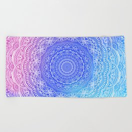Beautiful colorful rainbow mandala Sophisticated ornament pink and violet cyan Beach Towel