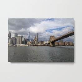 Manhattan and Brooklyn's Bridge Metal Print