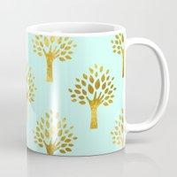 gold foil Mugs featuring Mint Gold Foil 02 by Aloke Design