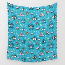 Trippy Eye Pattern in Blue Raspberry Wall Tapestry