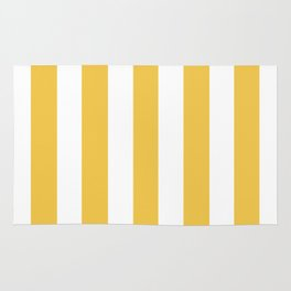 Maize (Crayola) orange - solid color - white vertical lines pattern Rug