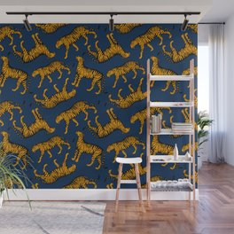 Tigers (Navy Blue and Marigold) Wall Mural