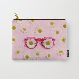 Pink sunglasses with daisies Carry-All Pouch