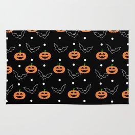 Halloween Pumpkin & Bats Pattern Rug