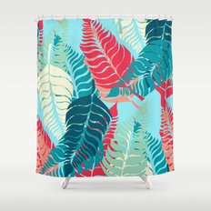 Leave Me Layered (Aqua Red) Shower Curtain