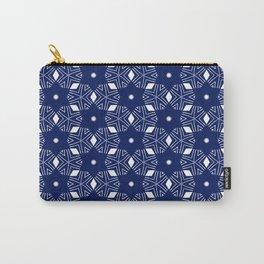 Shibori Stars (white and dark blue) Carry-All Pouch