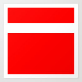 White stripe on red Art Print
