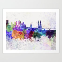 Cologne skyline in watercolor background Art Print