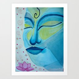 Buddha face and lotus flower Art Print