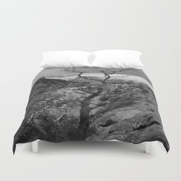 Withered Tree on top of Mountain Range, Big Bend - Landscape Photography Duvet Cover