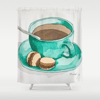 macaroons Shower Curtains featuring Coffee and Macaroons Teal by Bryan McKinney