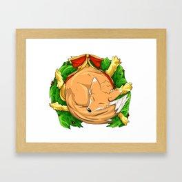 Christmas Fox Wreath Framed Art Print