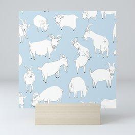 Goats Playing – Blue Mini Art Print