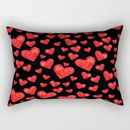 Hearts Motif Black Rectangular Pillow