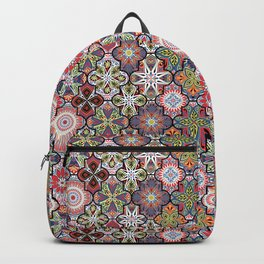 Colorful floral seamless ornate pattern in red color Backpack
