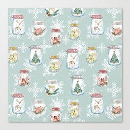 Christmas Jars Mint Canvas Print