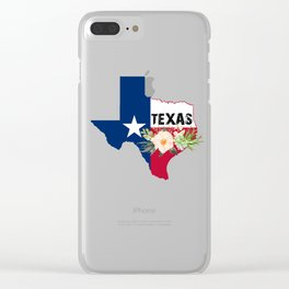 Texas Watercolor Flowers Texan State product Clear iPhone Case