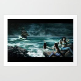 Sirens on the Rocks Art Print
