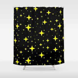 Bright Yellow Stars in Space , Cristmas Stars Shower Curtain