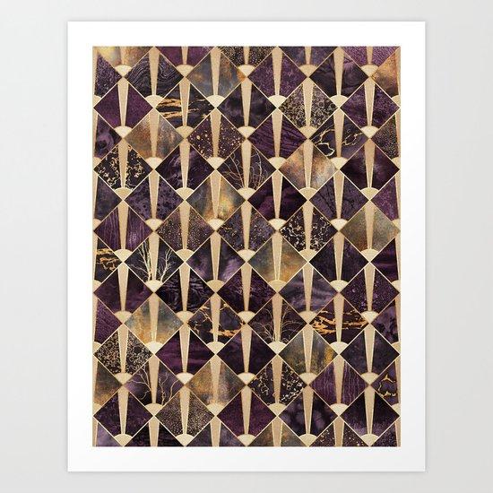 Art Deco Tiles - Plum Art Print