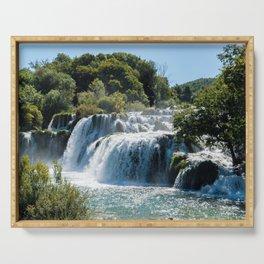 Waterfall in Krka NP - Croatia Serving Tray