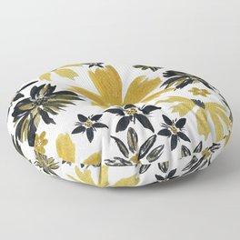 Modern hand paint watercolor faux glitter flowers Floor Pillow