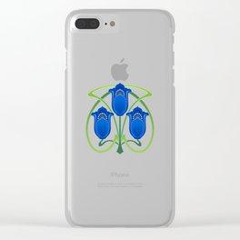 Three Blue Art Nouveau Flowers Clear iPhone Case