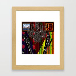 Black Boots in air by chandelier Framed Art Print