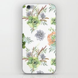 Succulents Mint Green Lavender Lilac Coral Violet Pattern iPhone Skin