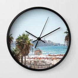 View of Old Jaffa from Gordon Beach, Tel Aviv, Israel Wall Clock