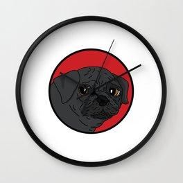 Pug - Red Spot Wall Clock