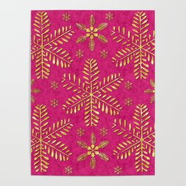 DP044-1 Gold snowflakes on pink Poster