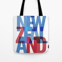 new zealand Tote Bags featuring New Zealand by Feb Studios