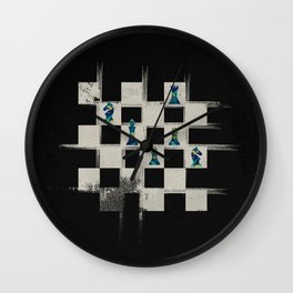 Chessboard and Marble Chess Pieces composition Wall Clock