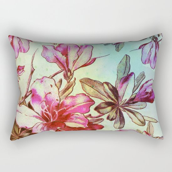 pink lily and turquoise touch Rectangular Pillow