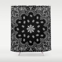 tupac Shower Curtains featuring black and white bandana by Marta Olga Klara
