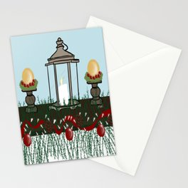 Christmas Mantel With Lantern and Ornaments Stationery Cards
