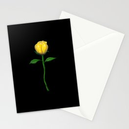 Long Stem Yellow Rose on Black Stationery Cards
