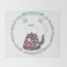 Tea Time Floral Tea Kettle Throw Blanket