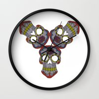 sugar skulls Wall Clocks featuring Sugar Skulls by Weeverbee