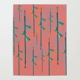 Mid Century Illumination - Teal Coral and Orange Palette Poster