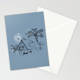 Camping in nature ink illustration Stationery Cards