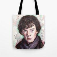 sherlock holmes Tote Bags featuring Sherlock Holmes by Olechka