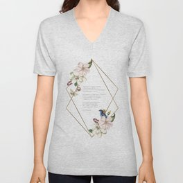 Hope Is The Thing With Feathers - Geometric Floral Emily Dickinson Poem Unisex V-Neck