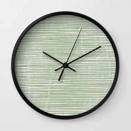 Abstract Stripes, Sage Green, Boho Wall Art Wall Clock