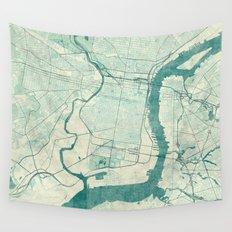 Philadelphia Map Blue Vintage Wall Tapestry