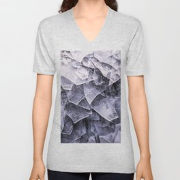 Cracked Ice Tiles In Lake Shore #decor #buyart #society6 Unisex V-Neck