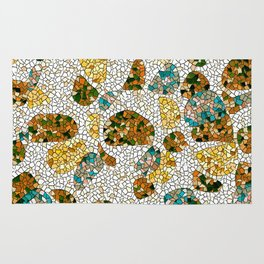 Gold, Copper, and Blue Mosaic Abstract Rug