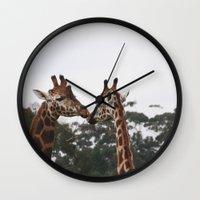 lovers Wall Clocks featuring lovers by Jordan Alanda