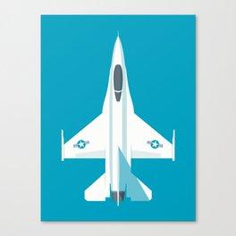 F-16 Falcon Fighter Jet Aircraft - Cyan Canvas Print